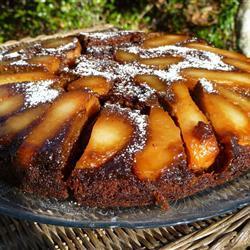 Шоколадный пирог перевертыш с грушами