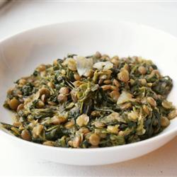 Чечевица со шпинатом
