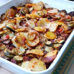 Греческий бриам из картофеля с кабачками