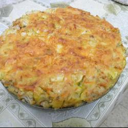 Запеканка из кабачков, мяса и риса