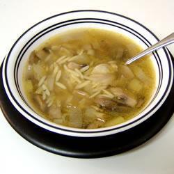 Суп из грибов и лука-порея