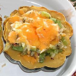 Желудевый кабачок с сыром и грибами