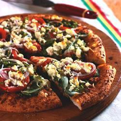 Пицца со шпинатом, фетой и вялеными помидорами без соуса