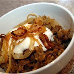 Рис с чечевицей и жареным луком